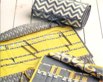 """Pattern """"Knit, Purl, and Roll"""" Knitting Needle, Crochet Hook Case Paper Sewing Pattern by Atkinson Designs ATK-171"""