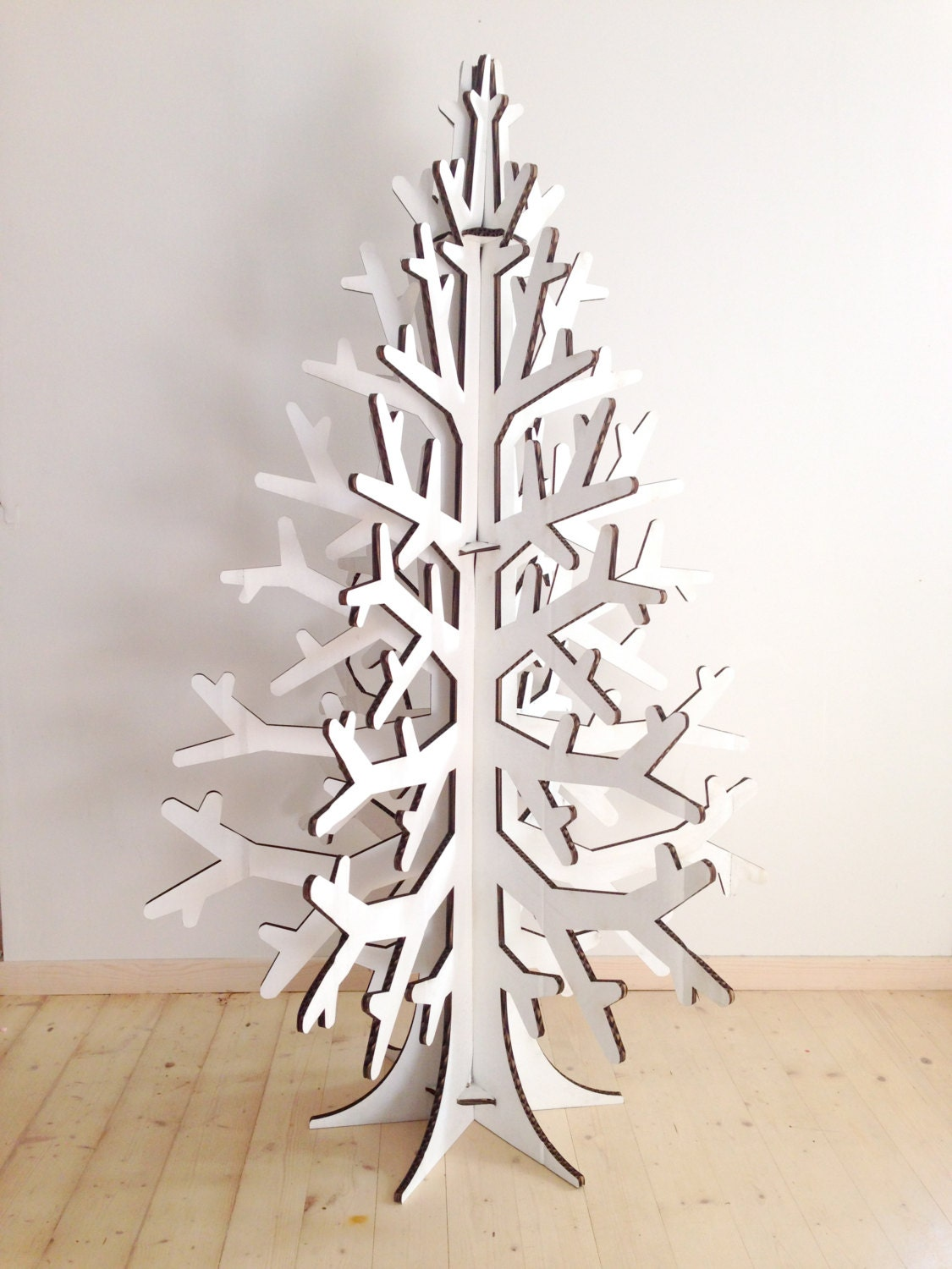 White Colored Recycled Cardboard Christmas Tree Holiday