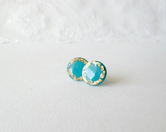 Turquoise Blue and gold grecian earrings- Elegant summer jewelry- Polymer clay post earrings- Bridesmaids jewelry