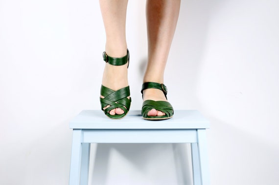 ON SALE 10 % green Leather Sandals with peep toe , women sandals , flat sandals with buckle