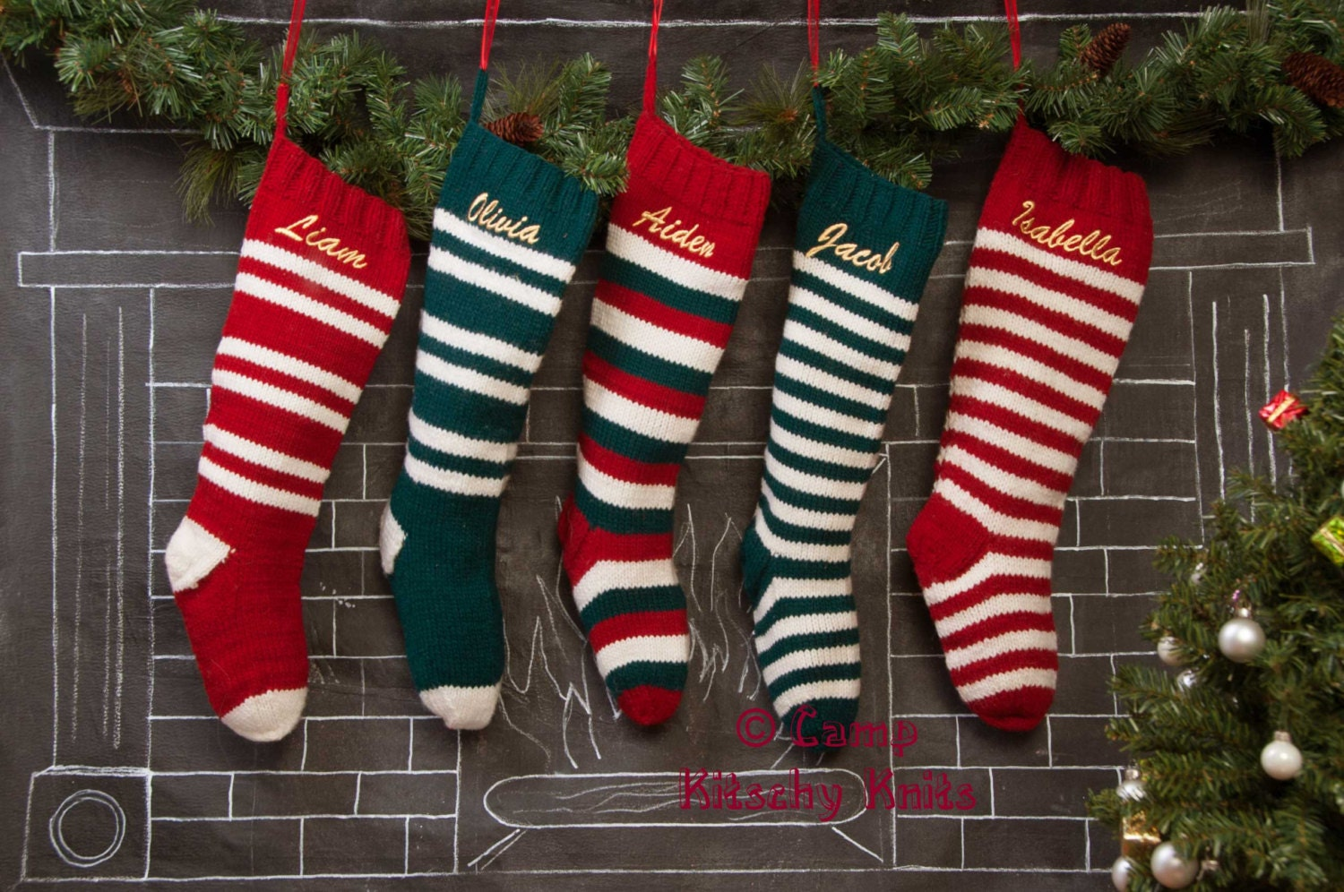 Home Knit Christmas Stockings
