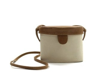 white & brown leather structured purse • cross body box bag • two tone leather bag