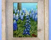 Original Painting Bluebonnets in Texas Hill Country Framed Wildflower Floral Art