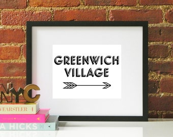 Black White Greenwich Village Arrow Typography Original Modern Home Office Decor Graphic New York City NYC Pattern Print Poster