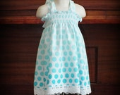Aqua Ombre Polka Dot Smocked Maxi Sundress by Steady As She Goes baby girl 0 3 6 12 18 24 mo teal blue green white eyelet lace summer dress