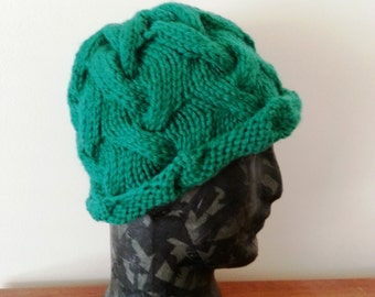 Handmade Knit Cable Hat - women's beanie hat - green hat - chunky wool hat - hand knitted hat - winter hat