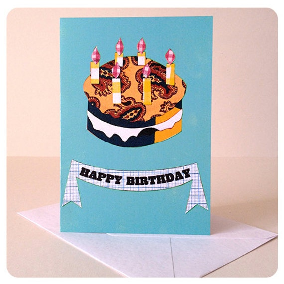 Light Blue Birthday Cake Card Bright Colours For By CLEOCOBB