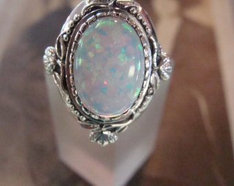 Stunning Sterling Silver Opal Ring  Size 8 Victorian