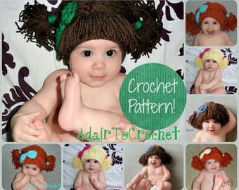 CROCHET PATTERN. Cabbage Patch Kid Inspired Wig.