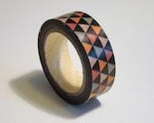 Washi Tape Roll - Geometric Triangles, Cute Scrapbooking Sticker 15mm x 10m