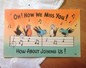 Vintage Postcard, Retro Birds - Cartoon Comic Card - 1940s Paper Ephemera