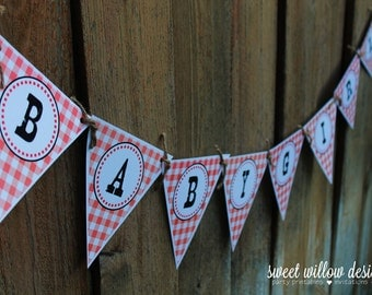 Red Baby-Q printable banner Instant Download-By Sweet Willow Designs