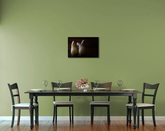 Dining Room Wall Art, Fruit Photography, Pears Photography, Moody Art Print, Kitchen Art Print, Dark Green, Dark Brown