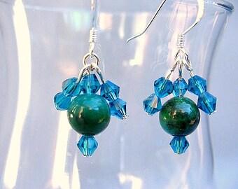 Sterling, Gemstone and Crystal Dangle Earrings/Gifts for Her/Green Earrings/Blue Earrings/Holiday Earrings/Gemstone Earrings/Beaded Earrings