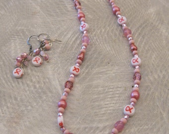 SALE! Pink Ribbon Necklace and Earring Set, Breast Cancer Awareness Jewelry Set