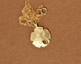 Gold sand dollar necklace - beach necklace - sea star necklace - starfish - a gold vermeil sand dollar pendant on a 14k gold vermeil chain
