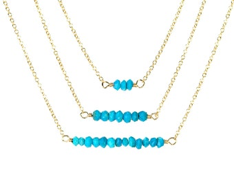Bar necklace - turquoise bar necklace - a row of tiny arizona turquoise wire wrapped onto a 14k gold vermeil or sterling silver chain