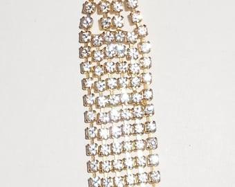 Rhinestone Necktie brooch vintage 1970s pin pronged stones