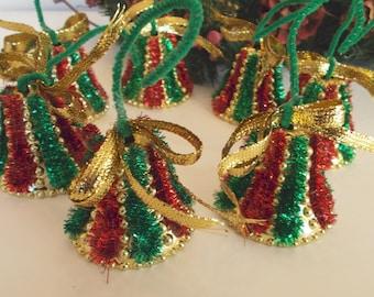 Vintage Christmas Bell Tree Ornaments - Set of 7 Plastic Bells