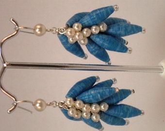 Paper bead jewelry- Paper bead earrings- Dangle earrings- Paper Beads- Pearls- Recycled- Upcycled- handmade jewelry- handmade earrings