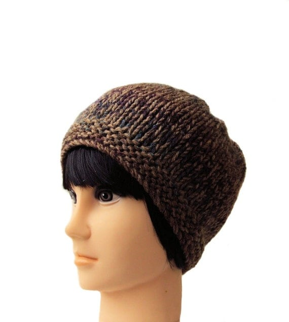 Mens Slouchy Beanie Knitting Pattern : Slouchy Beanie Knit Hat Mens Chunky Hat Beanie Brown Hat