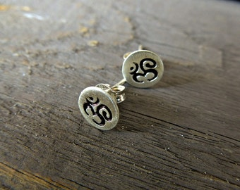 Yoga Earrings, Om stud earrings. Sterling Silver Om, Post earrings.