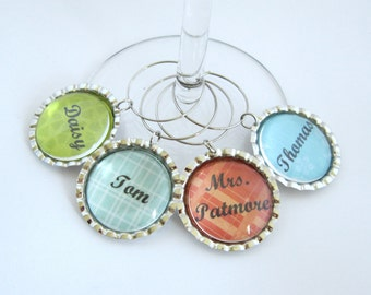 Downton Abbey Wine Glass Charm Characters (Mrs. Patmore, Thomas, Daisy, Tom)