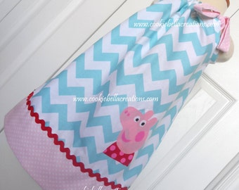 Posh Pig Aqua Pink & Red Chevron and Polka Dot Pillowcase Dress