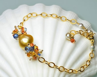 South Sea Baroque Pearl, Orange and Yellow Sapphire, Blue Kyanite, South Sea Keshi Pearl Gold Filled Bracelet