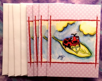 Buggy 4 U - Ladybug/Ladybird Greeting Cards, Valentine's Day - 4-Pack