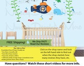 Kids Ocean Decal with Submarine, Whale Wall Decal, Navy and Gray, Decals for Kids, SUBF Full Size (W29_T13_Su82_sW12_H21_F55_B28)