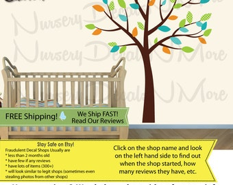 Kids Room Tree Decals with leaves, Nursery Wall Decal, Brown Tree Stickers (WATeal) SmTO