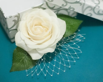 Emma - Real Feel Ivory Rose Hairpiece with Russian Tulle