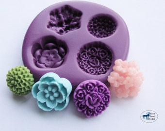 Flower Combo Mold/Mould 4-  Mum Daffodil Vintage Rose Wildflower - Silicone Molds - Polymer Clay Resin Fondant