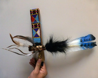 Leather headband with Three colors Blue Feathers