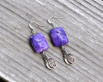 CLEARANCE Boho Bohemian Hippie Chic Rustic Beach Silver Teardrop Purple Beaded Earrings