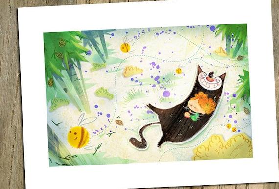 Cat and Girl Print, Nursery Art, Kids Print, Cat Art,  I Love You, Yin&Yang, Cute Girl with Cat