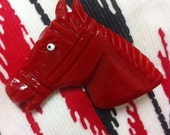 G I D D Y  U P!  Made To Order  Large 1940s 1950s RED Bakelite Style Handmade Horse Head Brooch by Demure Couture