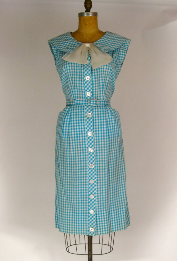1950s Blue and White Gingham Cotton Dress