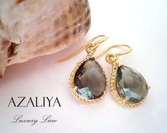 Black Diamond Dangles in Gold. Grey Quartz Crystals Earrings. Grey. Black. Azaliya Luxury Line. Bridal, Bridesmaids Earrings.