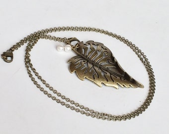 Extra Long Antique Bronze Big Leaf Swarovski Crystal Pearl Necklace, Rustic Statement Necklace, Everyday Necklace N89