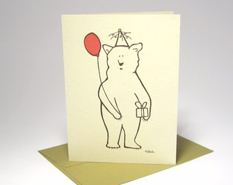 Kids Birthday Card, Party Bear Card, Funny Birthday Card - Recycled Illustrated Card (1020)
