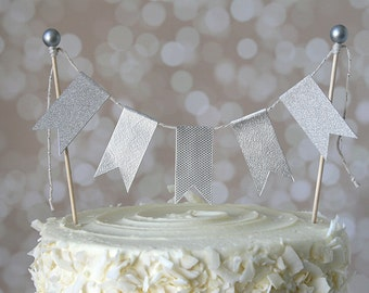 Silver Cake Bunting Pennant Flag Cake Topper-MANY Colors to Choose From!  Birthday, Wedding, Baptism, Christening, Shower Cake Topper