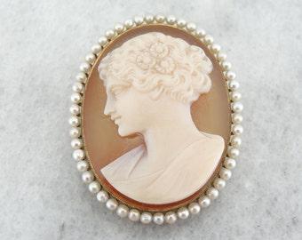 Grecian Goddess, Art Nouveau Sardonyx Cameo with Pearl Frame in Gold 336DW1-P