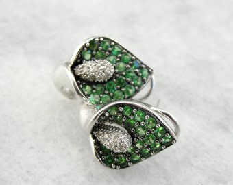 Lily Blossom Earrings set with Apatite and Diamonds WNN9CU-R