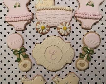 BABY Carriage onesie rattle Sugar Cookies