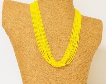 Bright yellow necklace, seed bead necklace,sunshine, neon yellow necklace, bright yellow necklace, boho,beaded necklace,wedding jewelry