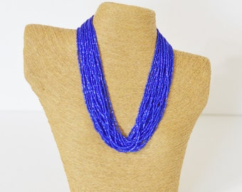 Sparkly electric blue necklace, royal blue necklace, statement necklace, boho, multistrand, beaded necklace, chunky necklace, gift ideas