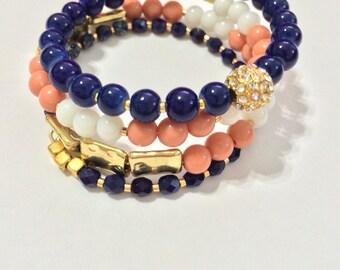 Navy, Peach, & White Beaded Statement Bracelet