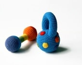 Crocheted Dumbbell toy and fitness Weight in rainbow colors- Crocheted Rattle Weights- Baby boy gift